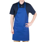 Choice Royal Blue Full Length Bib Apron with Pockets - 34 inchL x 30 inchW