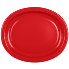 Creative Converting 433548 12 inch x 10 inch Classic Red Oval Paper Platter - 8/Pack
