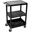 Luxor / H. Wilson STC221-B Black 3 Shelf Utility Cart - 1 Tub Shelf, 24 inch x 18 inch x 37 1/2 inch