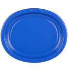 Creative Converting 433147 12 inch x 10 inch Cobalt Blue Oval Paper Platter - 8/Pack