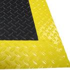 Cactus Mat 1053M-C35 Cushion Diamond-Dekplate 3' x 5' Black Anti-Fatigue Mat with Yellow Safety Edge - 9/16