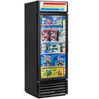 True GDM-23F-HC-LD BK LH Black One Section Glass Door Merchandiser Freezer with LED Lighting and Left-Hinged Door