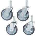 5 inch Polyurethane Stem Shelving Casters   - 4/Set
