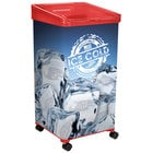 32 Qt. Red Micro Mobile Merchandiser / Cooler with LED Light - 16 inch x 16 inch x 32 inch