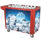280 Qt. Red Merchandiser / Cooler Push Cart - 53 inch x 30 inch x 39 inch