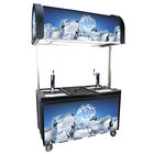 Black IRP-2060 IDC Ice Down Mobile Draft Cart with Illuminated Canopy - (2) 1/2 Keg