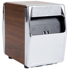 Vollrath 6509-12 Two Sided Tabletop Lowfold Napkin Dispenser with Chrome Faceplate - Walnut