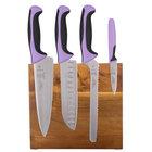 Mercer M21982PU Millennia 5-Piece Acacia Magnetic Board and Purple Handle Knife Set