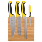 Mercer M21981YL Millennia 5-Piece Bamboo Magnetic Board and Yellow Handle Knife Set