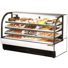 True TCGR-77 77 inch White Curved Glass Refrigerated Bakery Display Case - 43 Cu. Ft.
