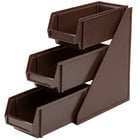 Vollrath 4843-01 Traex Brown Self-Serve Condiment Bin Stand Set with 3-Tier Stand and 11 1/4