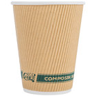 EcoChoice 12 oz. Sleeveless Kraft Compostable and Biodegradable Paper Hot Cup   - 500/Case