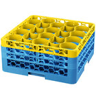 Carlisle RW20-2C411 OptiClean NeWave 20 Compartment Yellow Color-Coded Glass Rack with 3 Extenders