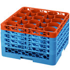Carlisle RW20-4C412 OptiClean NeWave 20 Compartment Orange Color-Coded Glass Rack with 5 Extenders