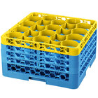 Carlisle RW20-3C411 OptiClean NeWave 20 Compartment Yellow Color-Coded Glass Rack with 4 Extenders