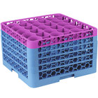 Carlisle RW30-4C414 OptiClean NeWave 30 Compartment Lavender Color-Coded Glass Rack with 5 Extenders