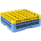 Carlisle RW30-1C411 OptiClean NeWave 30 Compartment Yellow Color-Coded Glass Rack with 2 Extenders