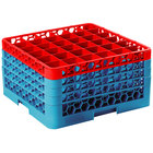 Carlisle RG36-4C410 OptiClean 36 Compartment Red Color-Coded Glass Rack with 4 Extenders