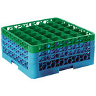 Carlisle RG36-3C413 OptiClean 36 Compartment Green Color-Coded Glass Rack with 3 Extenders