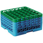 Carlisle RG36-4C413 OptiClean 36 Compartment Green Color-Coded Glass Rack with 4 Extenders