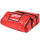 ServIt 18 inch x 18 inch x 5 inch Red Soft-Sided Heavy-Duty Nylon Insulated Pizza Delivery Bag - Holds Up To (2) 16 inch Pizza Boxes or (1) 18 inch Pizza Box