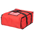 ServIt 16 inch x 16 inch x 8 inch Red Soft-Sided Heavy-Duty Nylon Insulated Pizza Delivery Bag - Holds Up To (3) 12 inch or 14 inch Pizza Boxes