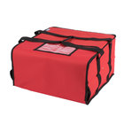 Choice 16 inch x 16 inch x 8 inch Red Soft-Sided Nylon Insulated Pizza Delivery Bag - Holds Up To (3) 12 inch or 14 inch Pizza Boxes
