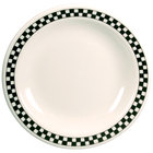 Homer Laughlin 2001636 Black Checkers 5 3/8 inch Ivory (American White) Rolled Edge Plate - 36/Case
