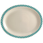 Homer Laughlin 2621789 Turquoise Checkers 12 1/2 inch x 9 inch Ivory (American White) Narrow Rim Oval Platter - 12/Case