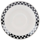 Homer Laughlin 2851636 Black Checkers 4 7/8 inch Ivory (American White) A.D. Saucer - 36/Case