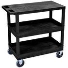 Luxor / H. Wilson EC211HD-B Black 2 Tub and 1 Flat Shelf Utility Cart - 32 inch x 18 inch