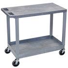 Luxor / H. Wilson EC21-G Gray 1 Tub and 1 Flat Shelf Utility Cart - 32 inch x 18 inch