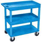 Luxor / H. Wilson EC112HD-BU Blue 2 Tub and 1 Flat Shelf Heavy-Duty Utility Cart - 32 inch x 18 inch