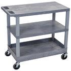Luxor / H. Wilson EC221-G Gray 1 Tub and 2 Flat Shelf Utility Cart - 32 inch x 18 inch