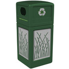 Commercial Zone 746116099 Precision Series 42 Gallon Green Recycling Receptacle with Stainless Steel Reed Panels