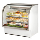 True TCGG-48 48 inch White Curved Glass Refrigerated Deli Case With Stainless Steel Top and Trim - 23.5 Cu. Ft.