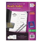 Avery AVE11162 Ready Index Narrow 5-Tab White Unpunched Table of Contents Divider Set - 5/Pack