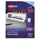 """Avery AVE5309 3 1/2"""" x 11"""" White Large Embossed Tent Cards - 50/Box"""