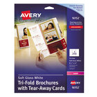 """Avery AVE16152 8 1/2"""" x 11"""" Soft Gloss Printable Tri-Fold Brochure with Tear-Away Cards - 50/Pack"""
