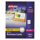 """Avery AVE5870 2"""" x 3 1/2"""" Uncoated White Clean Edge Business Cards - 2000/Pack"""