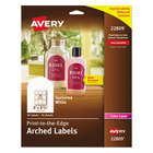 """Avery AVE22809 2 1/4"""" x 3"""" White Textured Matte Water-Resistant Arched Labels - 90/Pack"""