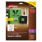 """Avery AVE22806 Easy Peel 2"""" x 2"""" White Square Print-to-the-Edge Labels - 300/Pack"""