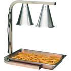 Carlisle HL7237PS00 Aluminum 2 Bulb Free Standing Heat Lamp with Pan and Screen - 110-120V, 500W
