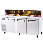 Turbo Air JST-72 72 inch J Series Refrigerated Salad / Sandwich Prep Table with Three Doors and Side Mount Compressor