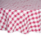 60 inch Round Burgundy-Checkered Vinyl Table Cover with Flannel Back