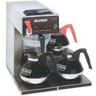 Bunn 12950.0216 CWTF15-3 Automatic 12 Cup Coffee Brewer with 3 Lower Warmers and Stainless Steel Funnel - 120V