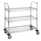 Metro MW711 Super Erecta 24 inch x 36 inch x 39 inch Three Shelf Standard Duty Chrome Utility Cart