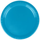 Creative Converting 28313111 7 inch Turquoise Plastic Lunch Plate - 20 / Pack