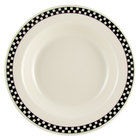 Homer Laughlin Black Checkers 12.75 oz. Wide Rim Creamy White / Off White China Soup Bowl - 24/Case