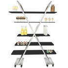 """Eastern Tabletop AC1700BK 55"""" x 17"""" x 74"""" X-Shaped Stainless Steel Rolling Buffet with Black Acrylic Shelves"""